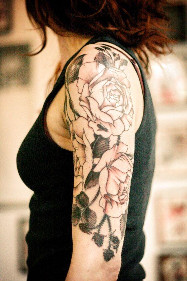 Women Quarter Sleeve Tattoos : women, quarter, sleeve, tattoos, Rose-tattoos-designs-for-girls-black-roses-on-quarter-sleeve-tattoo-design-awesome-tatt…, Sleeve, Tattoo,, Tattoos, Women,, Quarter