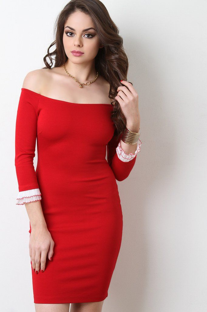 Three Quarter Sleeves Off-The-Shoulder Bodycon Mini Dress