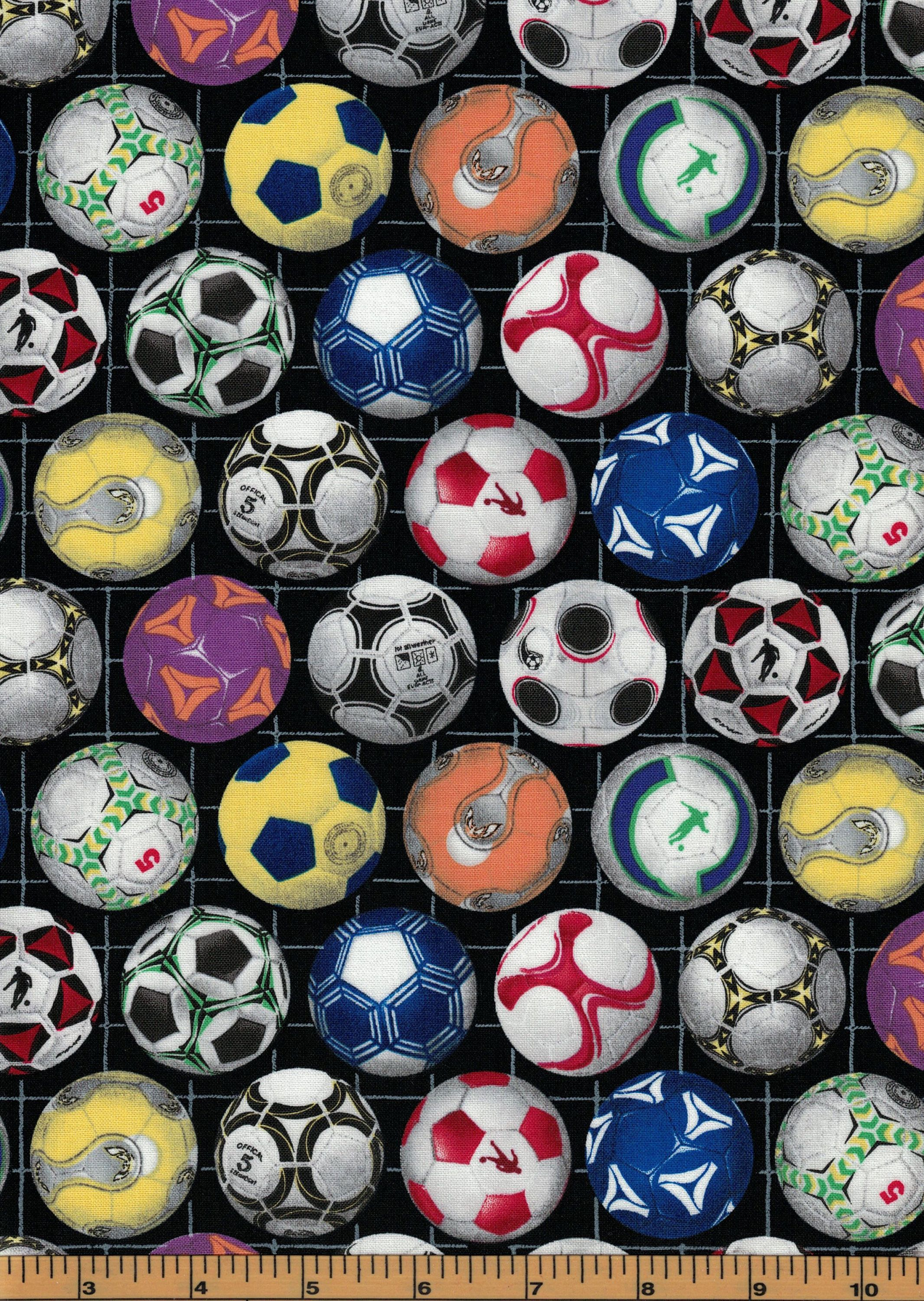 7e1e56d07 Multicolor Soccer Balls on a Black Background - Soccer Fabric - Elizabeth's  Studio Fabrics- 100% Cotton Fabric by QuiltsOnTheFly on Etsy