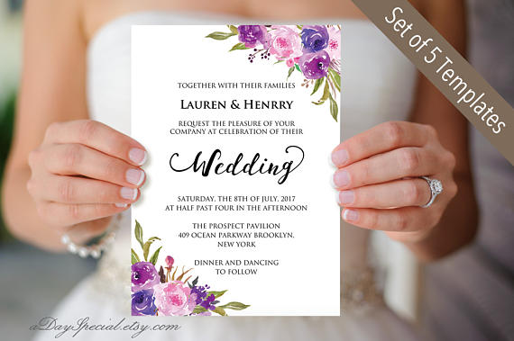 5 Lavender Wedding Invitation Templates Printable Purple Lilac