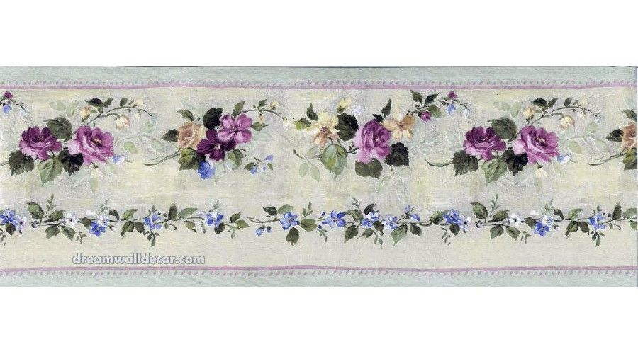 5 In X 15 Ft Prepasted Wallpaper Borders Pink Green Violet Floral Wall Paper Border Floral Wallpaper Border Floral Wallpaper Wallpaper Border