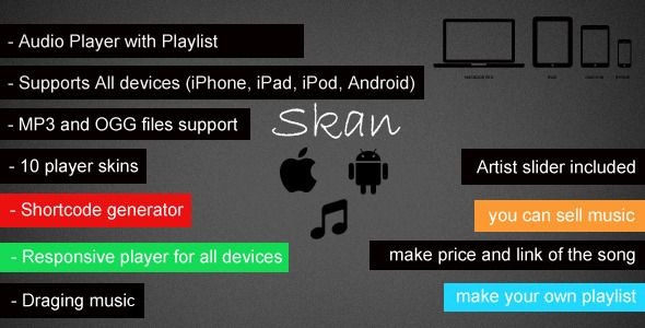 See More Skan - Responsive Audio Player with Playlistin each
