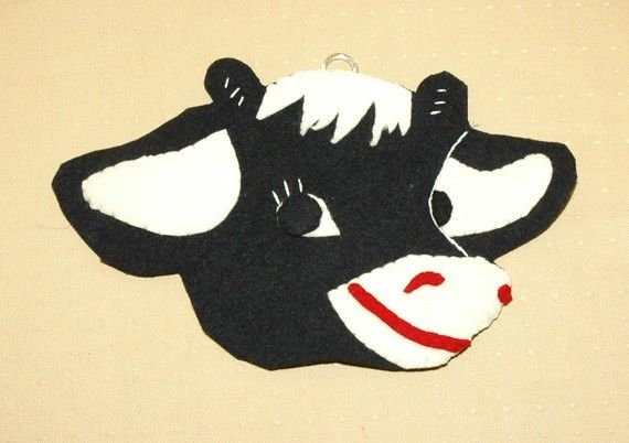 Vintage Hand Made Cow Wall Hanging 1940 S Elsie Wall Hanging Handmade Hanging