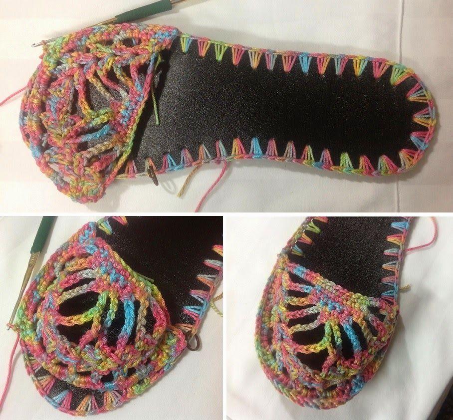 Sandalias de rejillas en crochet tutorial - Patrones Crochet   Обувь ...