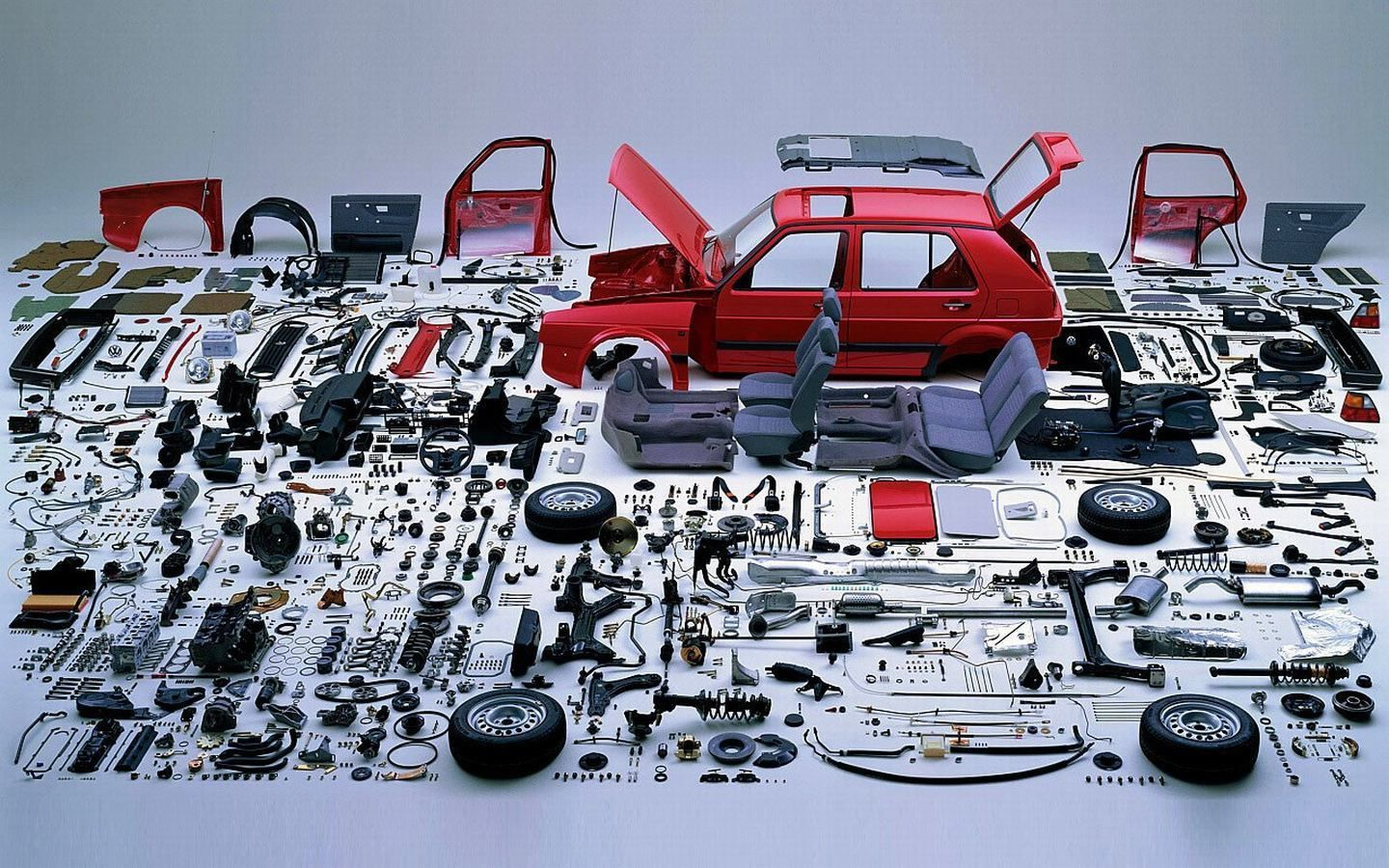 Auto Vehicle Parts >> A fully disassembled VW. | Pinterest | Volkswagen, Vw and Exploded view