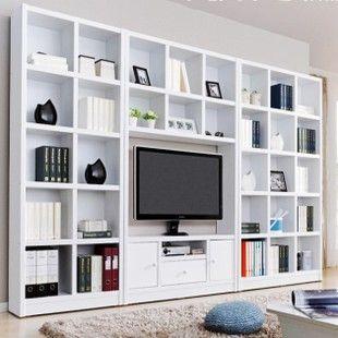 Tv Cabinet Combination Bookcase Lcd Brief Tv Wall Wine