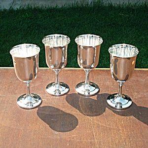 Oneida Silverplate Wine Goblets Set Of 4