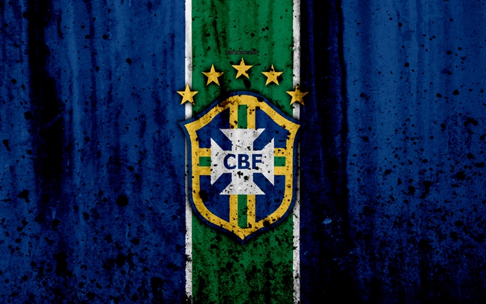 Download Wallpapers Brazil National Football Team 4k Logo Blue Background Grunge South America Football Stone Texture Soccer Brazil Emblem South Amer National Football Teams Brazil Football Team Team Emblems