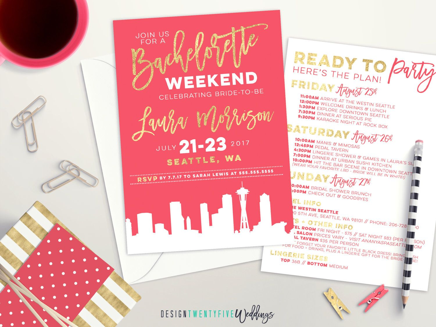 City Skyline Bachelorette Party Invite | Pink and Gold Bridal Shower ...