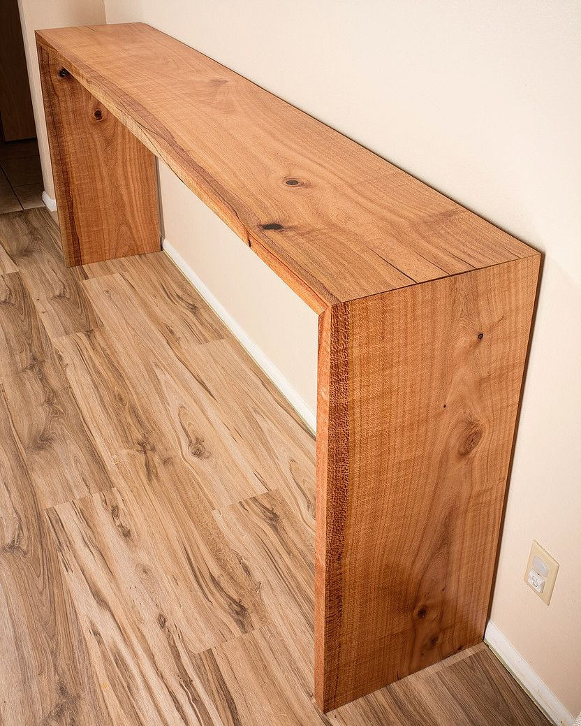 Custom 7ft Waterfall Console Table Made From Silky Oak Reclaimed Urban Lumber Diy Console Table Live Edge Console Table Wood Console Table