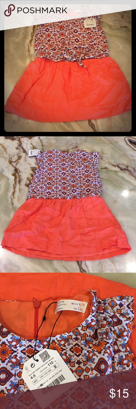 Zara Girls Casual Collection Dress Size 6/7 Zara Girls Dress, Size 6/7, multi color, Sleeveless, cotton/viscose blend New with tag Zara Dresses Casual