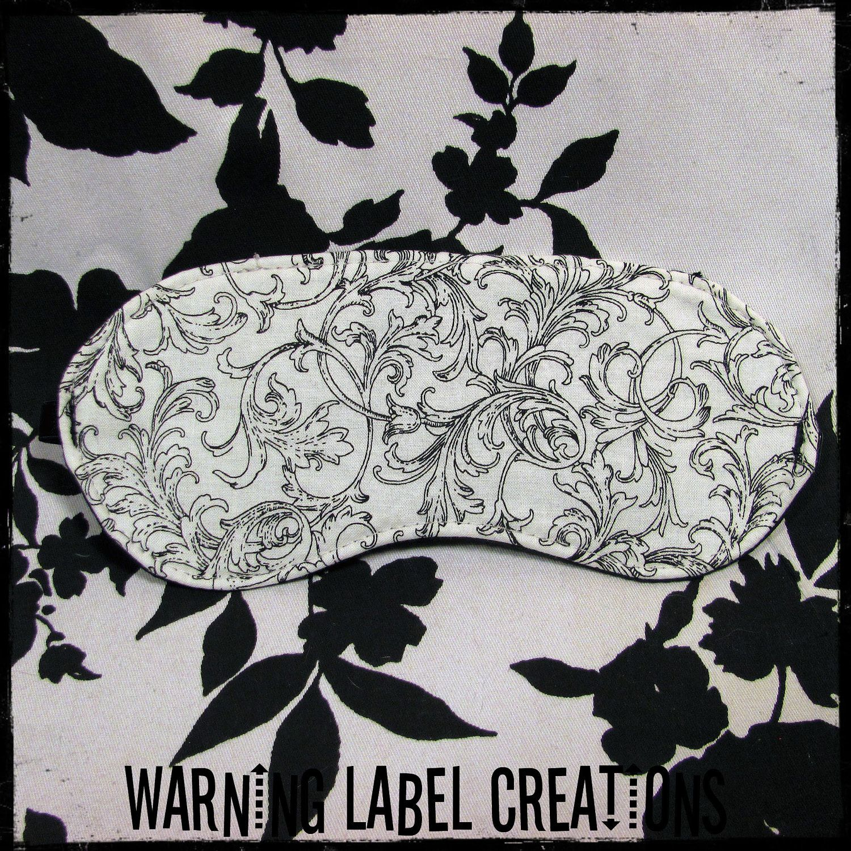 Black And White Delicate Damask Fabric Blindfold Sleep
