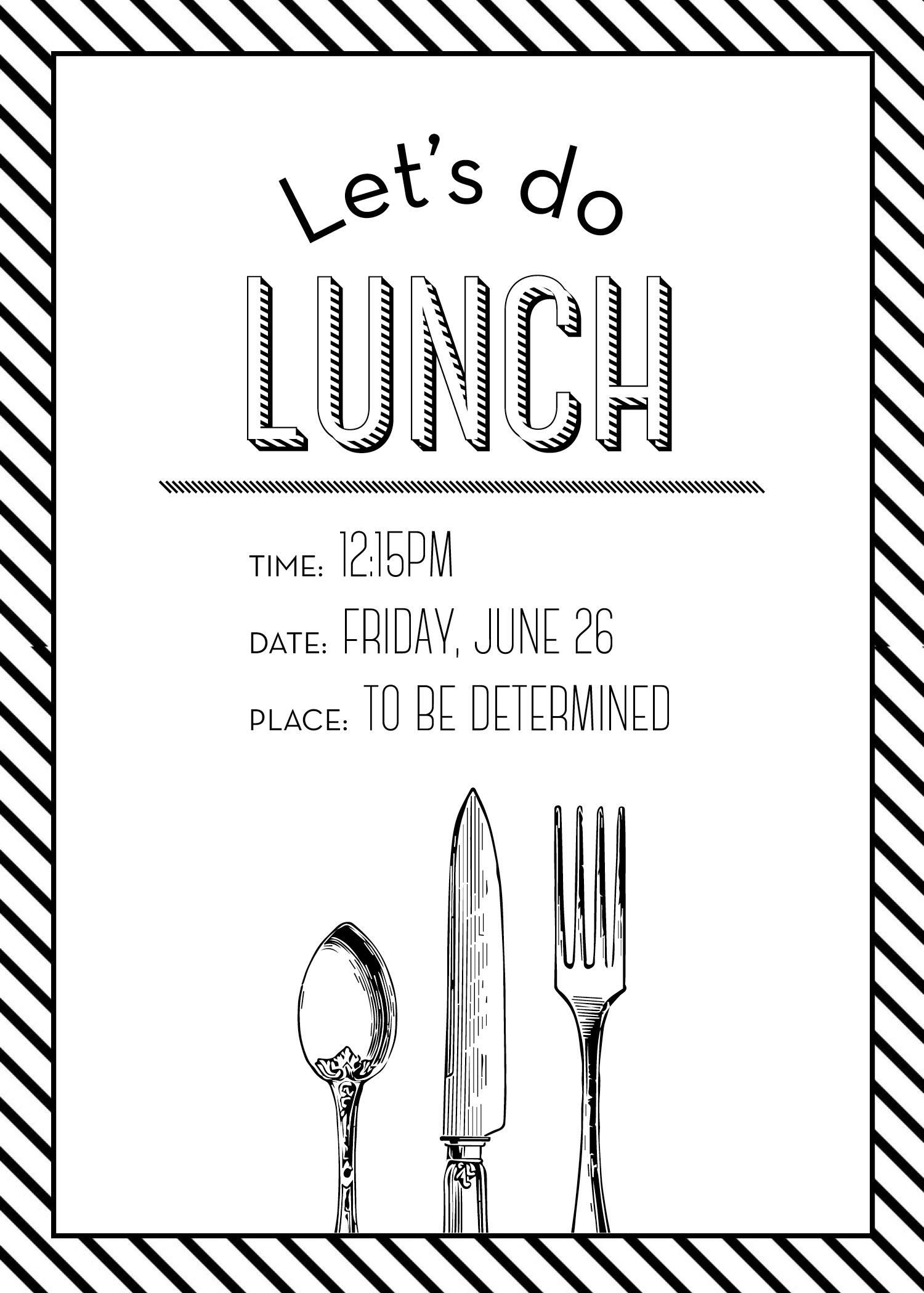 Simple but elegant lunch invitation.  Lunch invitation, Dinner