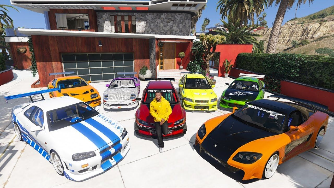 Gta 5 Stealing Fast And Furious Cars With Franklin Real Life Cars 10 Life Car Gta Gta 5