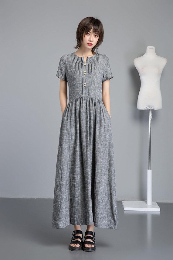 ee52584cb5d Linen shirt dress with pockets