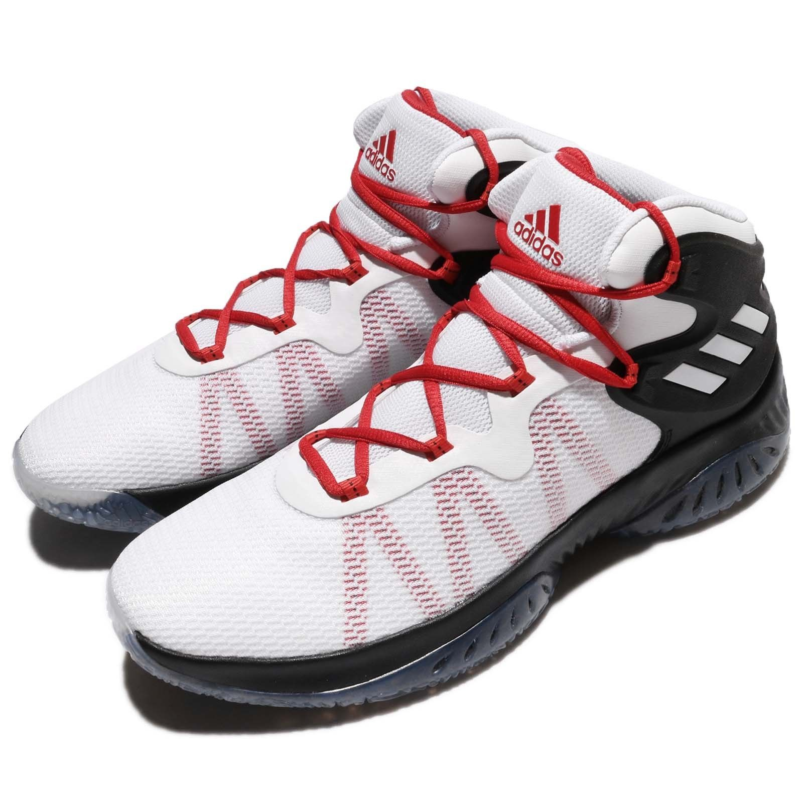 adidas Explosive Bounce Black White Red Men Basketball Shoes Sneakers BY3788
