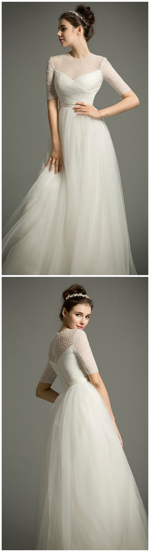 Flowy beach wedding dress empire scoop neck floorlength tulle with