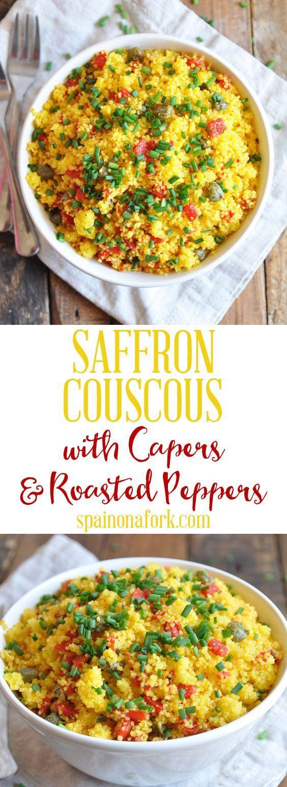 Safran-Couscous-Rezept mit Kapern & gerösteten Paprikaschoten   - e03.02.02 BEILAGE ZUR SÄTTIGUNG -
