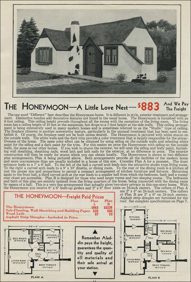 Tiny Romantic Cottage House Plan | Aladdin Kit Homes - 1931 Story ...
