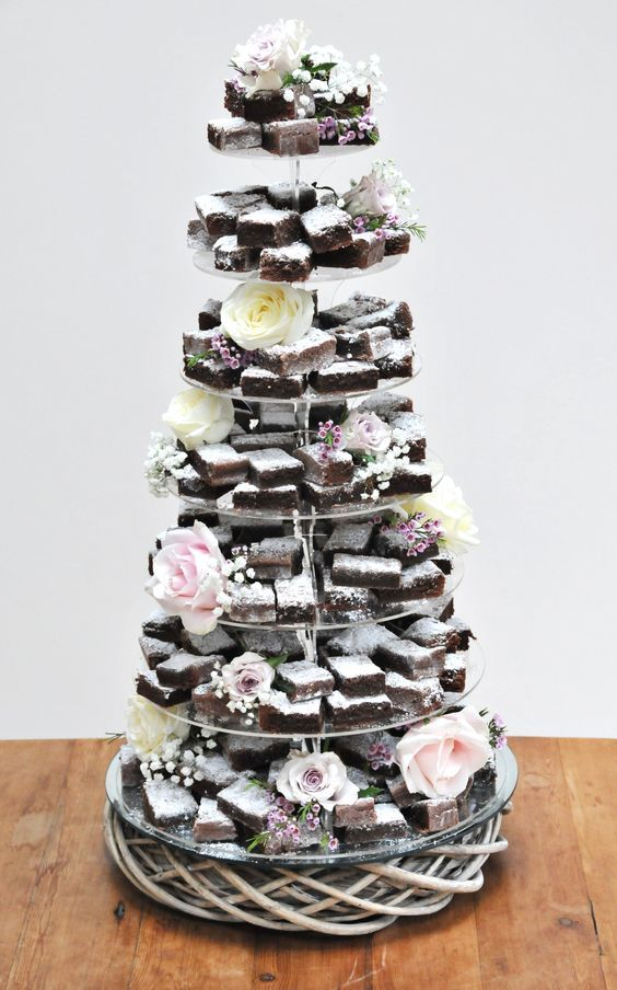 20 Wedding Cake Alternatives Your Guests Will Love In 2020 Brownie Wedding Cakes Wedding Cake Alternatives Chocolate Wedding Cake