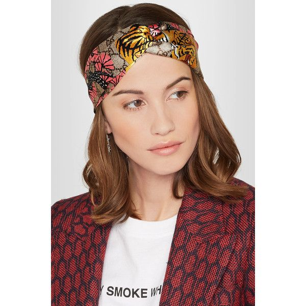 82623bcd906 Gucci Twisted printed duchesse silk-satin headband (£315) via Polyvore  featuring accessories