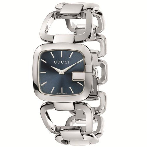 Gucci Women`s YA125405 G-Gucci Medium Blue Dial Steel Bracelet Watch $521.00