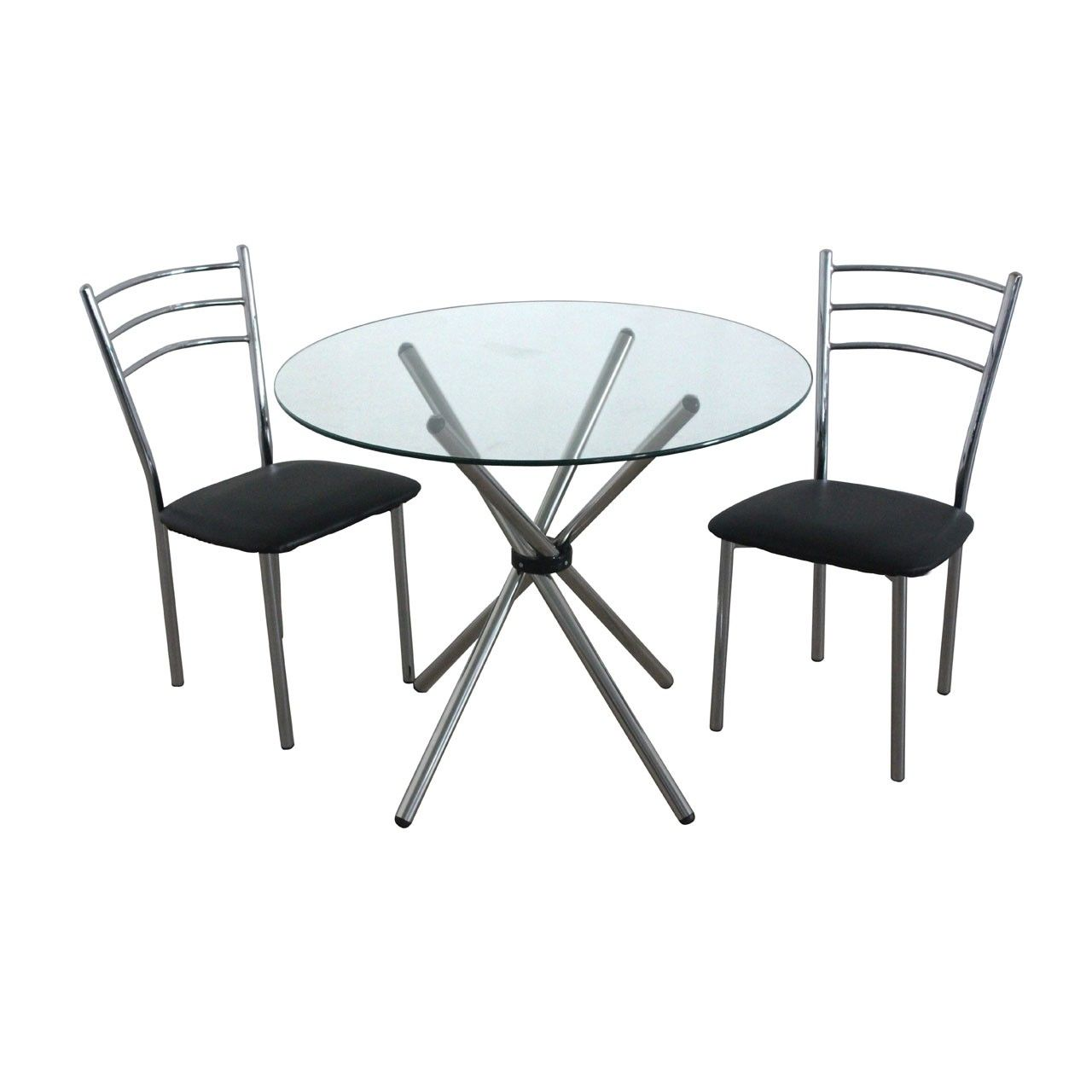 Dining Set, Black Leather Effect/Chromed Steel Chairs, Glass Table  Top/Chromed Steel Legs