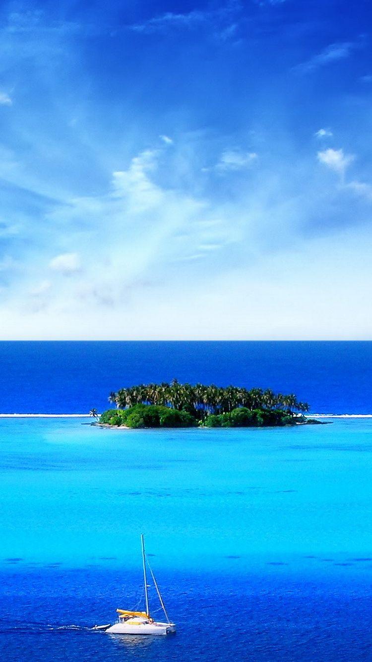 Tropical Island Sail Boat iPhone 6 Wallpaper iPhone