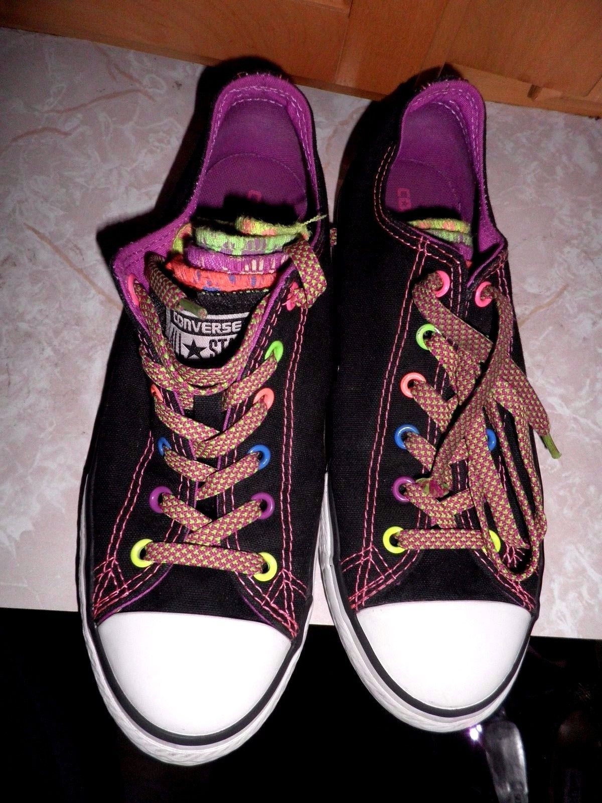 1101dfcca329 Black Converse All Stars w Multi Neon Color Eyelets Multi Color Tongues  Size 5 | eBay