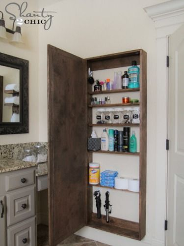 Elegant This Big Storage Case Is Hidden Behind A Full Length Mirror To Add A Ton Of  Bathroom Storage Space. Whitney Of Shanty 2 Chic Shows, Step By Step How  She ...