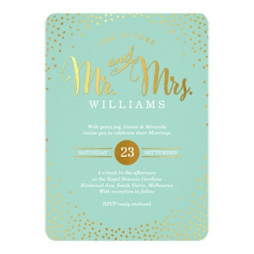 modern stylish wedding invitation featuring faux gold confetti and script font on a mint green background