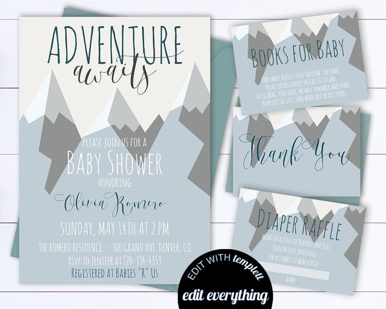 Adventure Awaits Shower Invitation Set Baby Shower Invitation with Book Request Printable Invitation Adventure Shower Invitation
