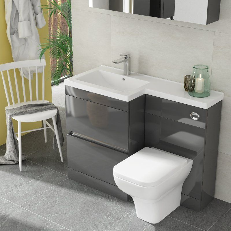 Pemberton L Shape 2 Drawer Basin And Toilet Combination Vanity