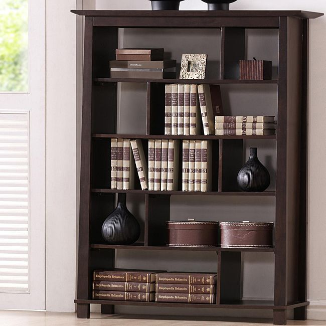 havana brown five shelf wood modern bookcase overstockcom shopping the best - Overstock Bookshelves