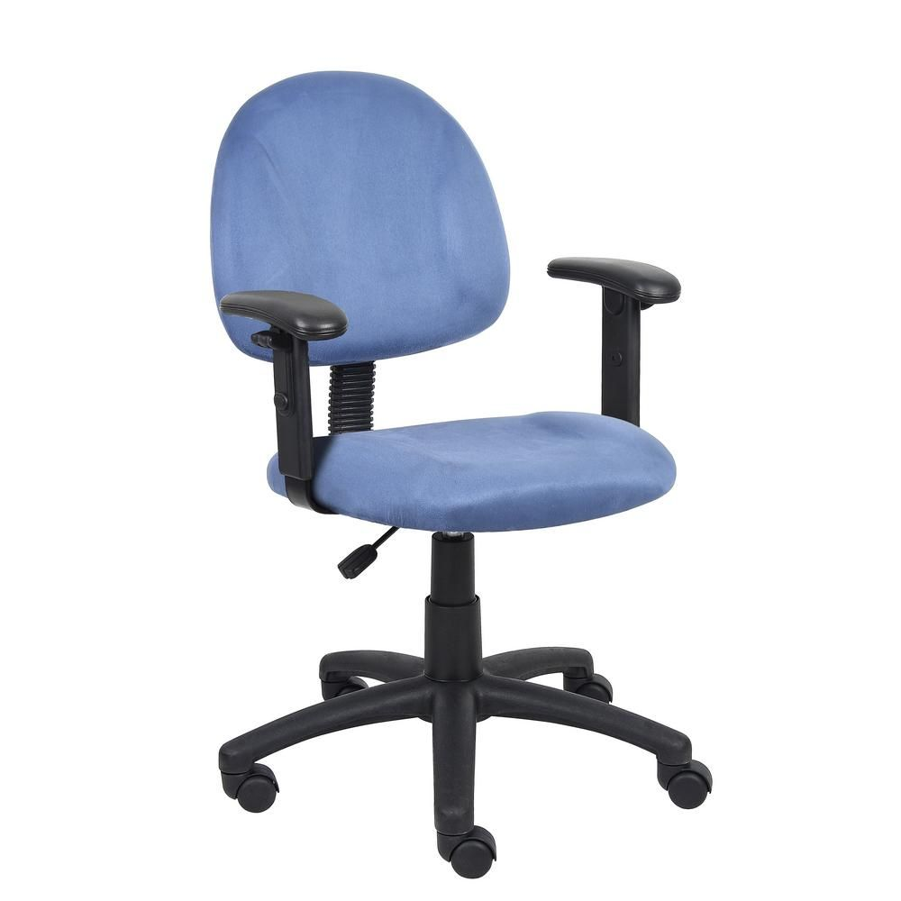 Boss blue microfiber deluxe posture chair with adjustable