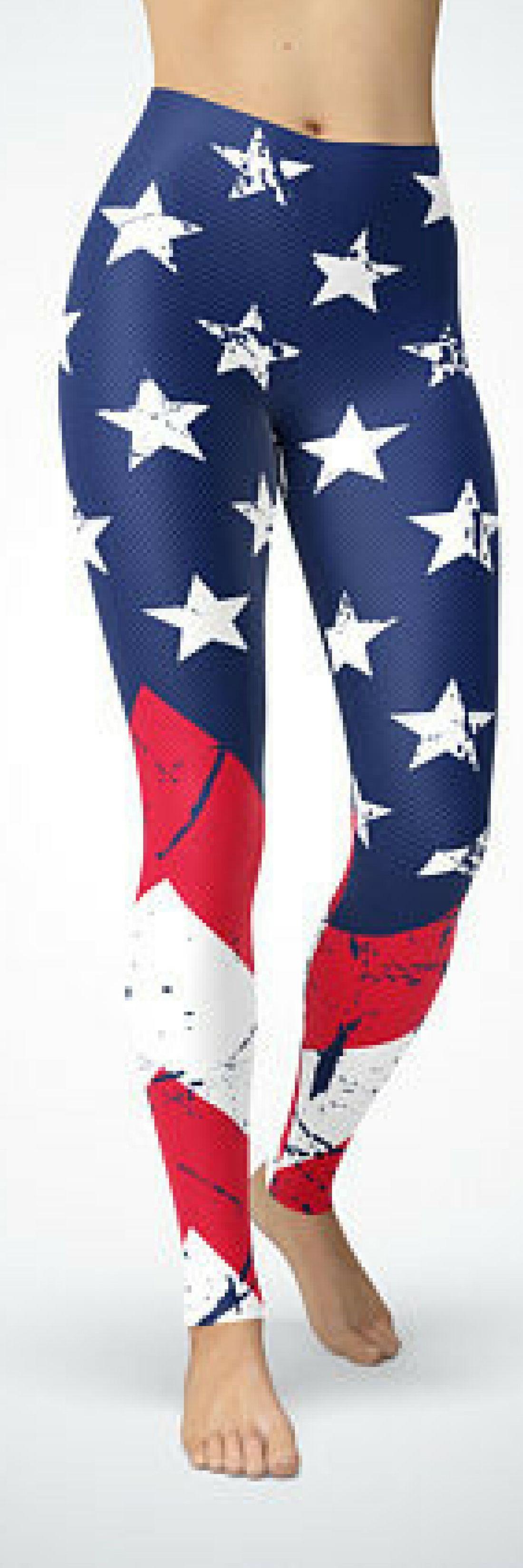 bdcd4720e414 American Flag Leggings USA Flag Clothing Yoga Leggings Blue Red Capri Pants  American Flag Stars Stripes Patriotic Yoga Pants United States   workoutclothes ...
