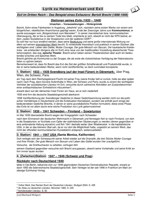 Bertolt Brecht 6 Exilgedichte Beispiele Fur Heimatverlust Und Exil Unterrichtsmaterial Im Fach Deutsch In 2020 Deutsch Unterricht Unterrichtseinheiten Gedichte