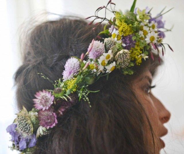 Pamela Love's bridal floral headdress