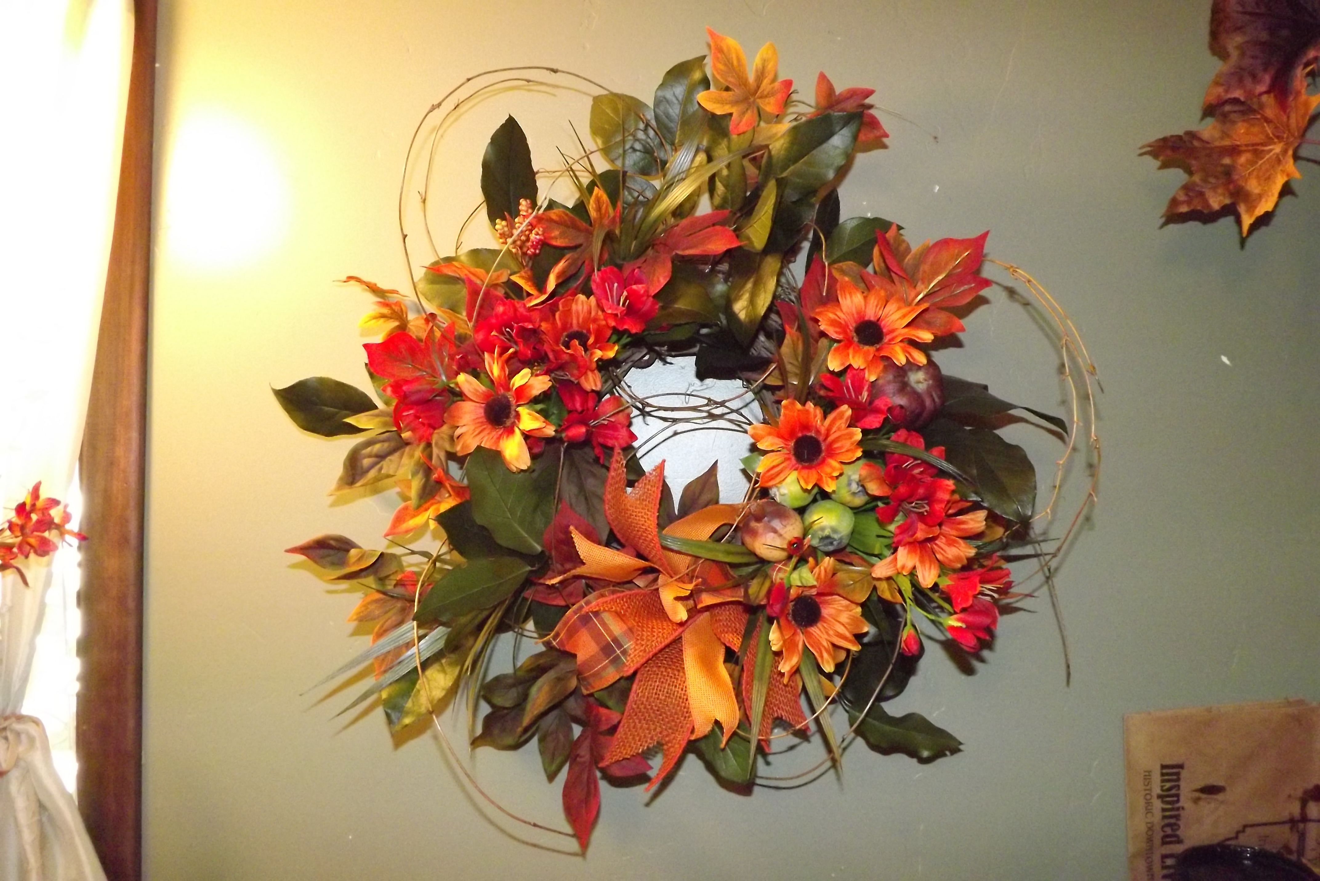 Summer Into Fall Wreath Silk Flower Arrangement By Ladida Flowers