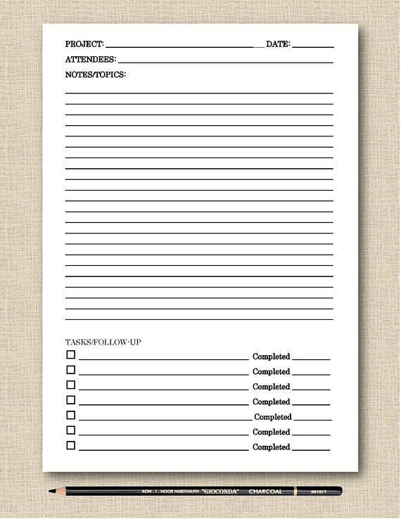 Life\u0027s Lists Printable Meeting Notes Black  White Printable