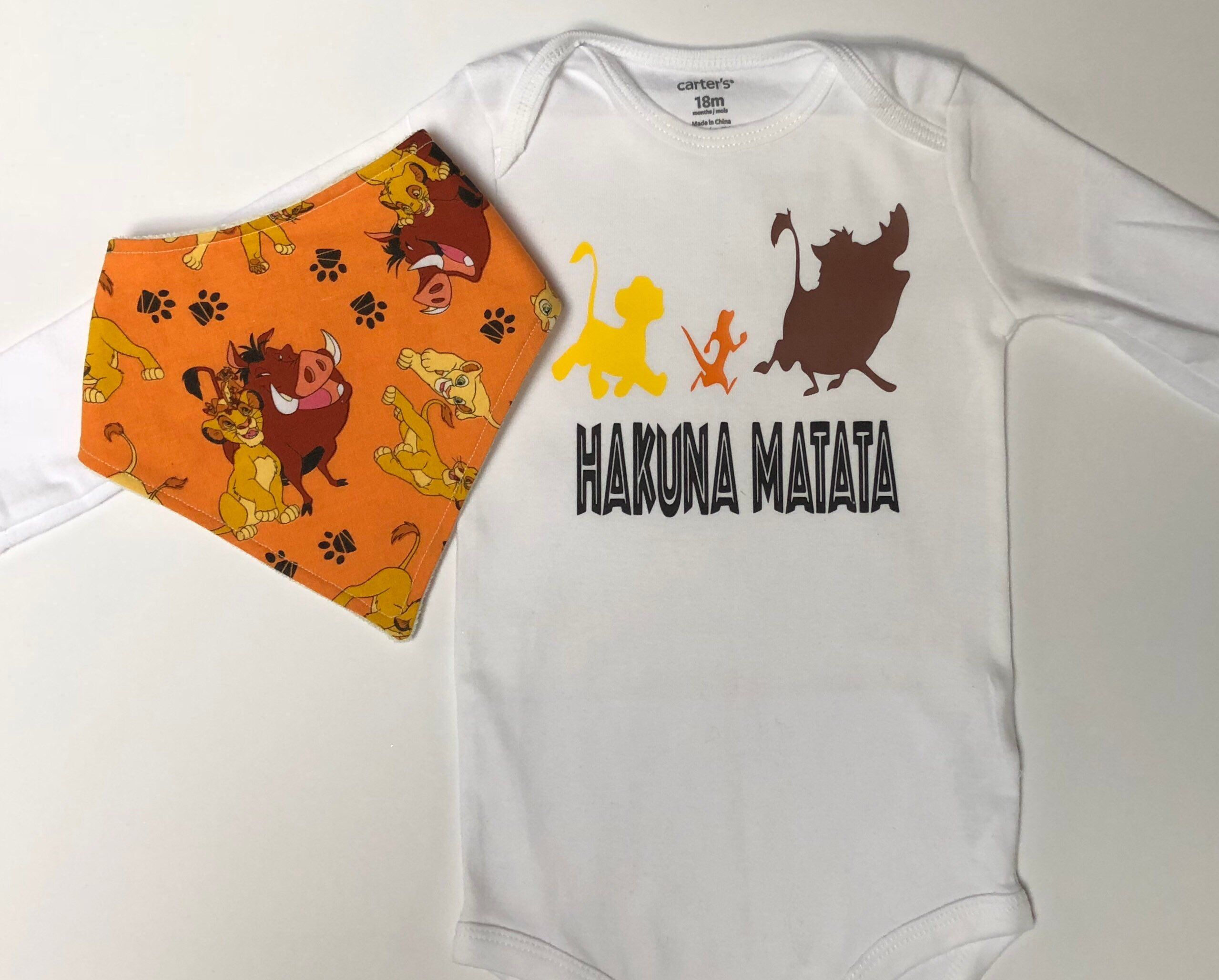 56cddd87b Lion King Inspired Bandana Bib and Onesie set | Hakuna Matata Onesie |  Organic Terry Cloth | Disney Onesie