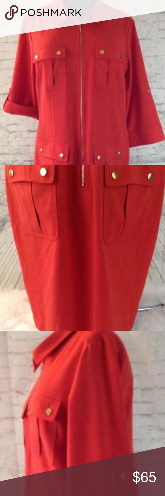 Sharagano Shirt Dress Orange Size 16 My Posh Picks Pinterest