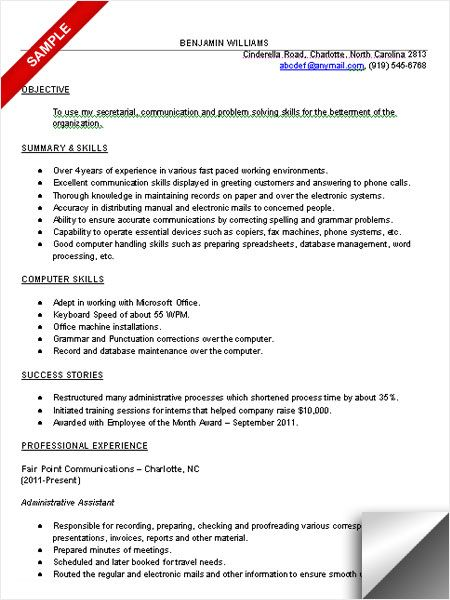 Administrative assistant resume sample Resume Examples - resume proofreading