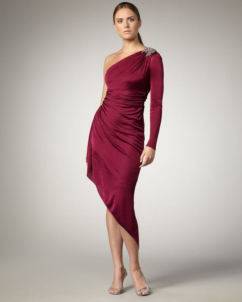 David Meister mulberry 8 M jersey pleated jewel one shoulder dress ...
