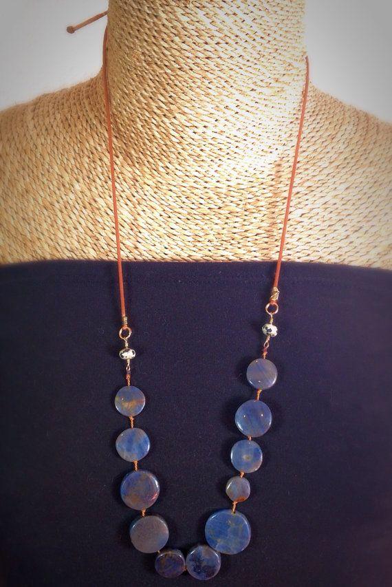 Blue circles necklace adjustable length