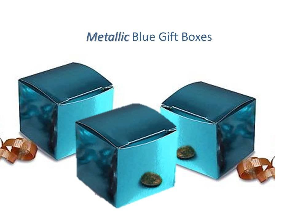 35 metallic blue favor boxes 3 x 3 inch gift boxes for