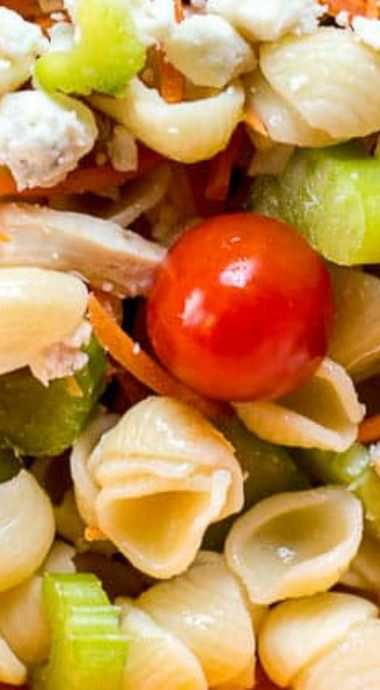 buffalo chicken pasta salad #buffalochickenpastasalad