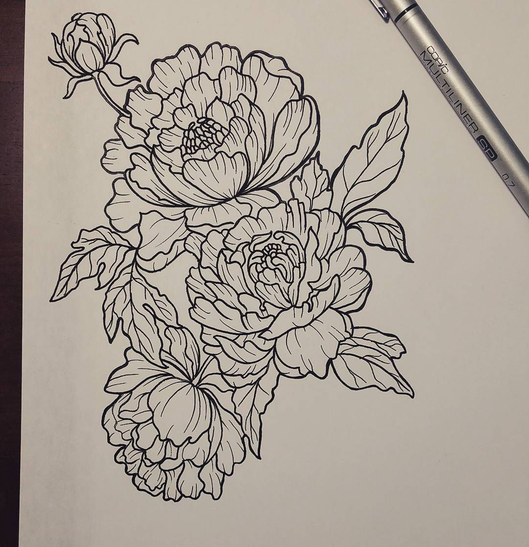 Line Drawing Flower Tattoo : Peonies tattoo design … pinteres…
