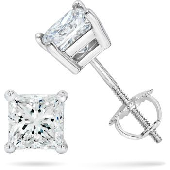 4 Ct Princess Brilliant Cut Stud Earrings Back Basket Solid White Gold