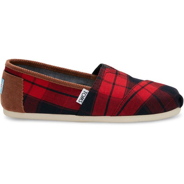 Red and Black Plaid Woven Women's Classics ($59) ❤ liked on Polyvore  featuring shoes